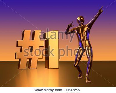 1 Block Letters with Statue Figure Celebrating Number One Stock ...
