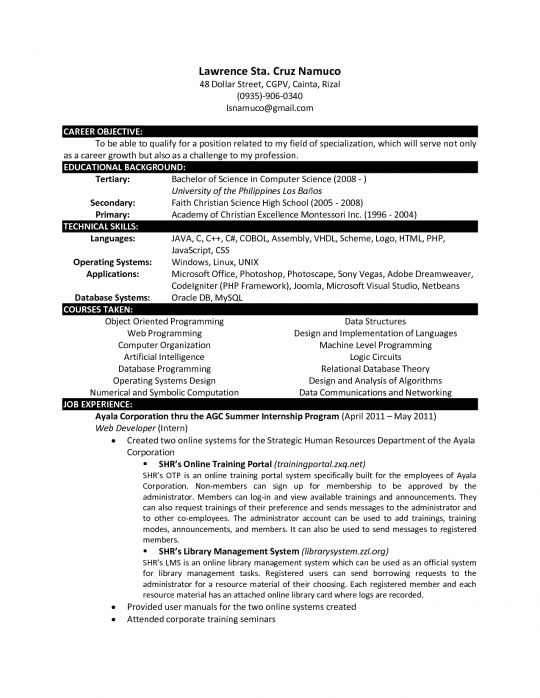Science Resume Examples 16 Resume Example For A GovernmentLaw ...