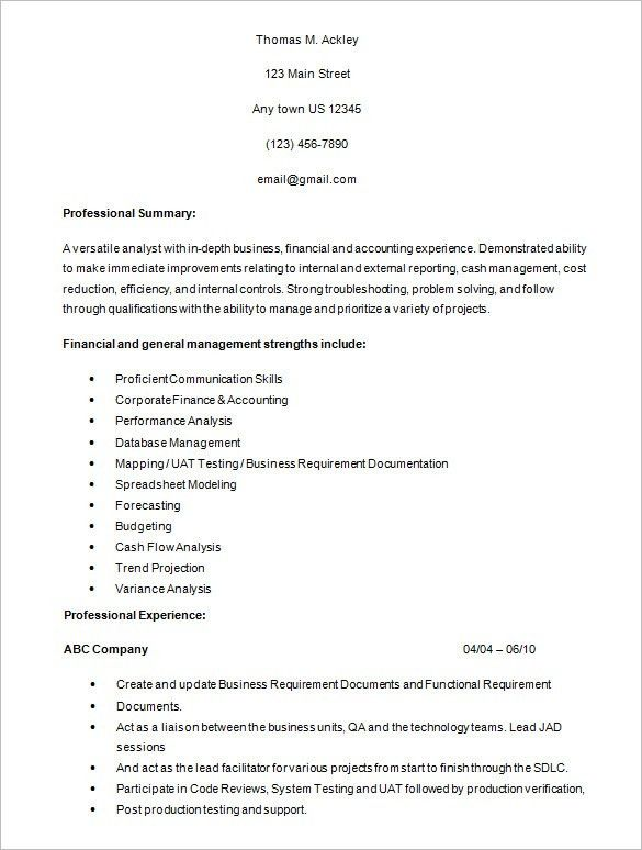 Sample Business Analysis. Business Analyst Resume For Financial ...