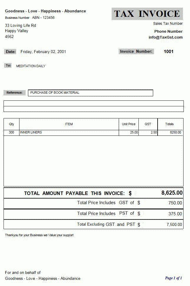 Quebec Invoice Template | printable invoice template