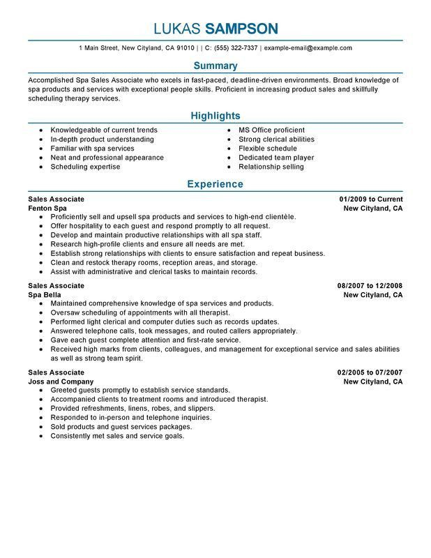 Unforgettable Sales Associate Resume Examples To Stand Out Simple ...