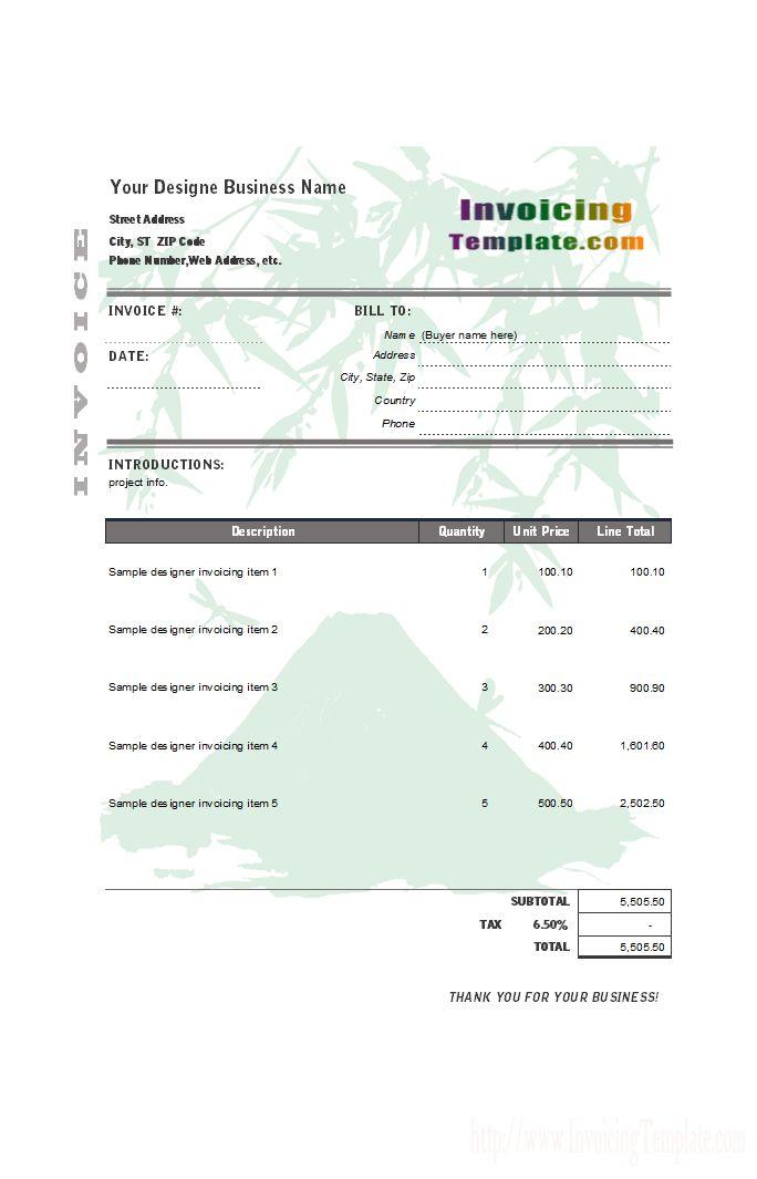 Designer Invoice Templates In Excel