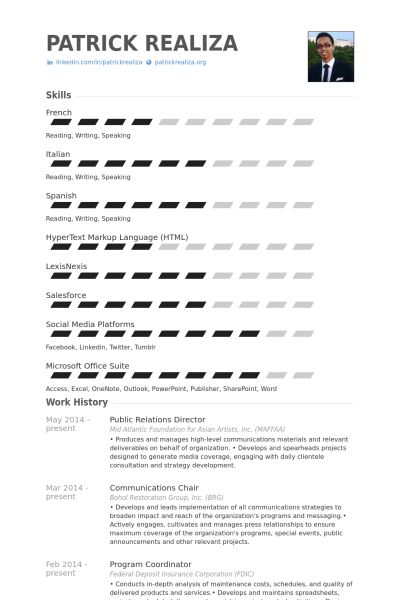 Public Relations Director Resume samples - VisualCV resume samples ...