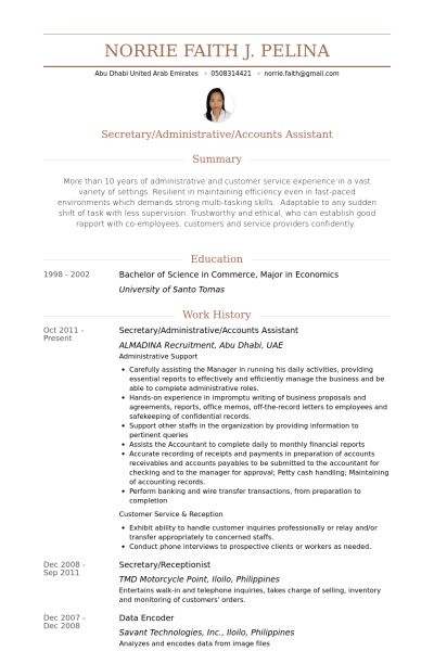 Accounts Assistant Resume samples - VisualCV resume samples database