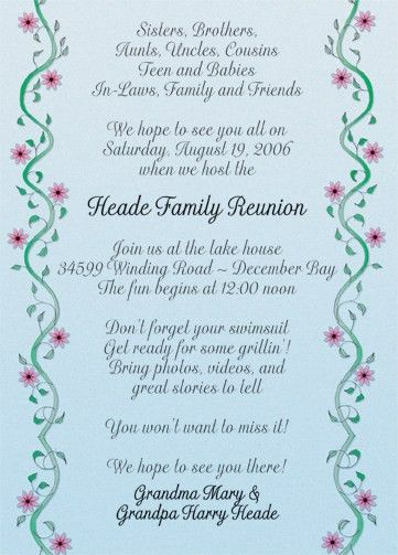 25 Personalized Family Reunion Invitations - FRF-11 Vines with ...