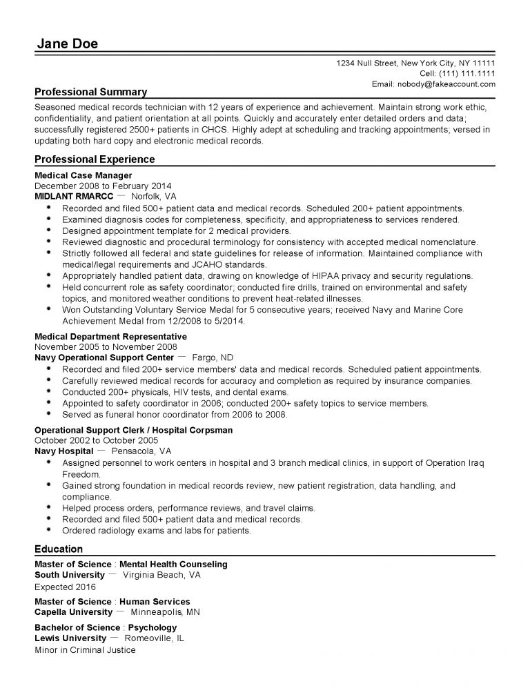Download Medical Records Resume | haadyaooverbayresort.com