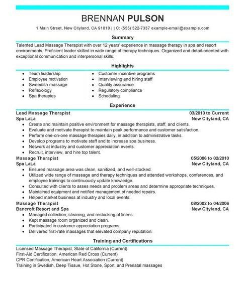 Massage Therapy Resume - Sample Resume Cover Letter Format