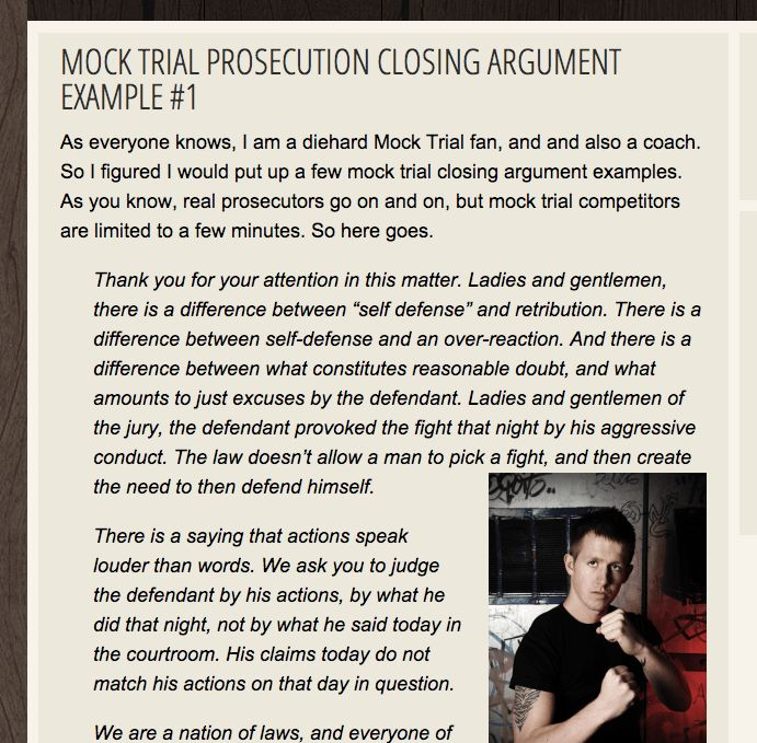 Mock Trial Closing Argument Examples, Prosecution and Defense ...