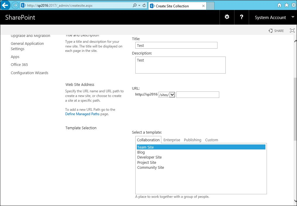 SharePoint Solutions Tips: How to create a site collection in ...