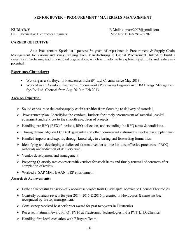 procurement resume objective download procurement resume