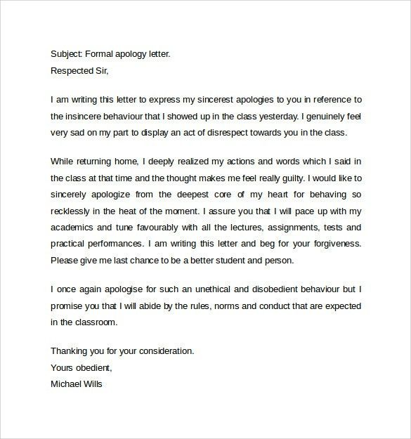 Formal Apology Letter Apology Letter Format For Mistake