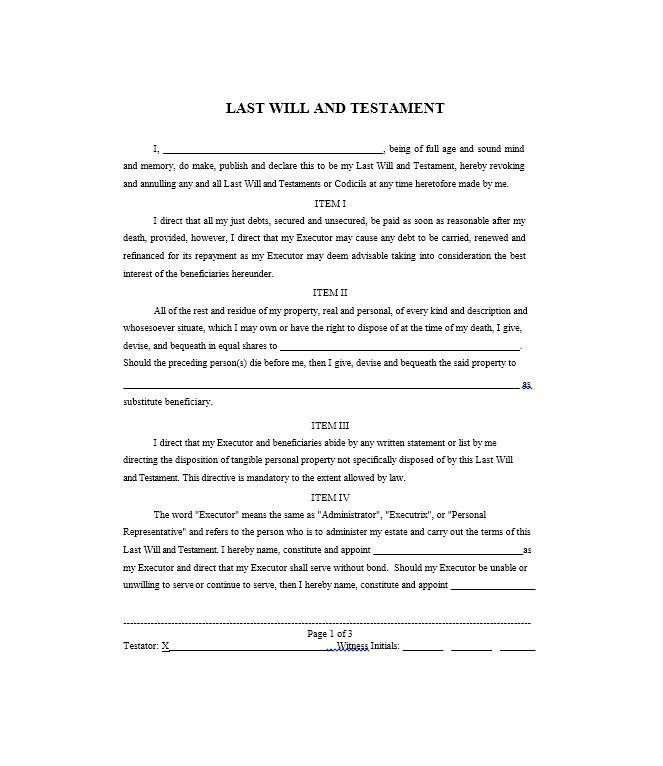Last Will And Testement Form. 6+ Sample Will And Testament | It ...