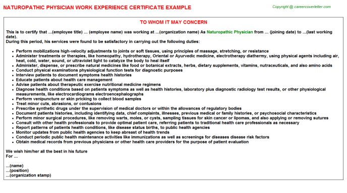 Naturopathic Physician Work Experience Certificate