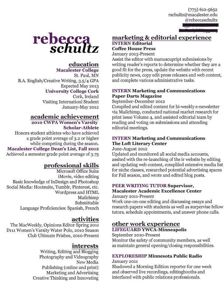67 best Marketing Resumes images on Pinterest | Marketing resume ...