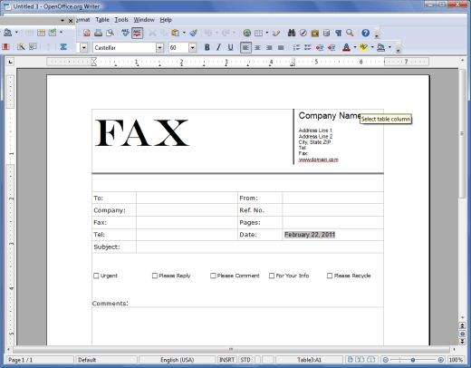 Free Templates for OpenOffice