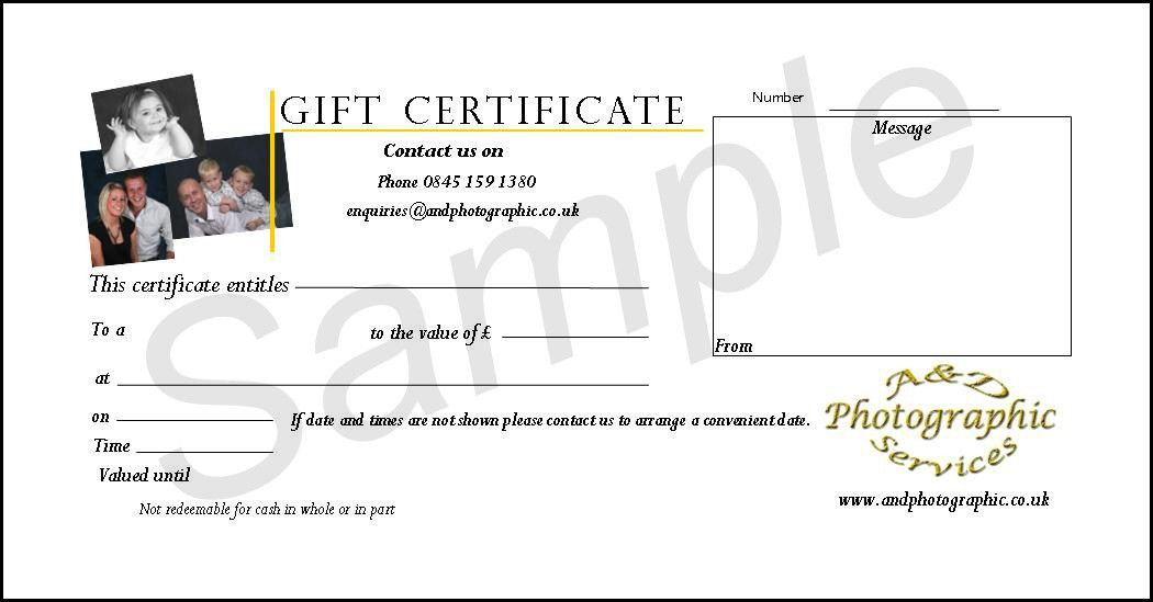Photography Gift Vouchers from A&D Photographic Services, Northampton