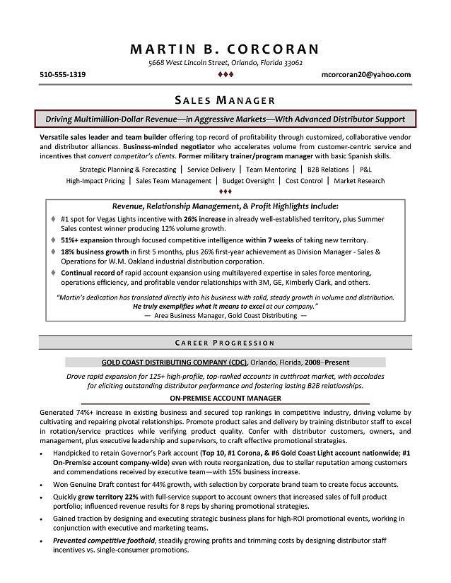 Sales Manager Sample Resume - Executive resume writer for ...