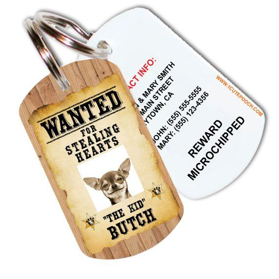 Wanted Poster Custom Pet ID Tag - 1 Cute Pooch