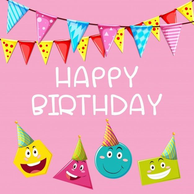 Happy Birthday card template with different shapes Vector | Free ...