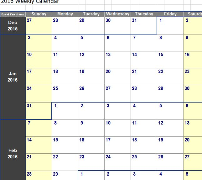 Weekly Calendar In Excel | weekly calendar template