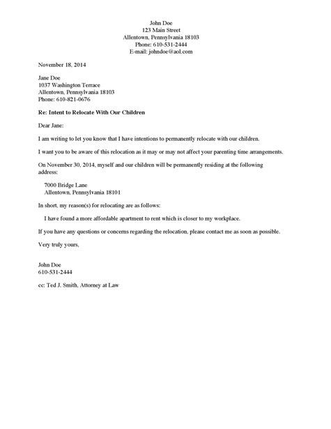Divorce Source - Letter to Non-Custodial Parent of Intent to ...