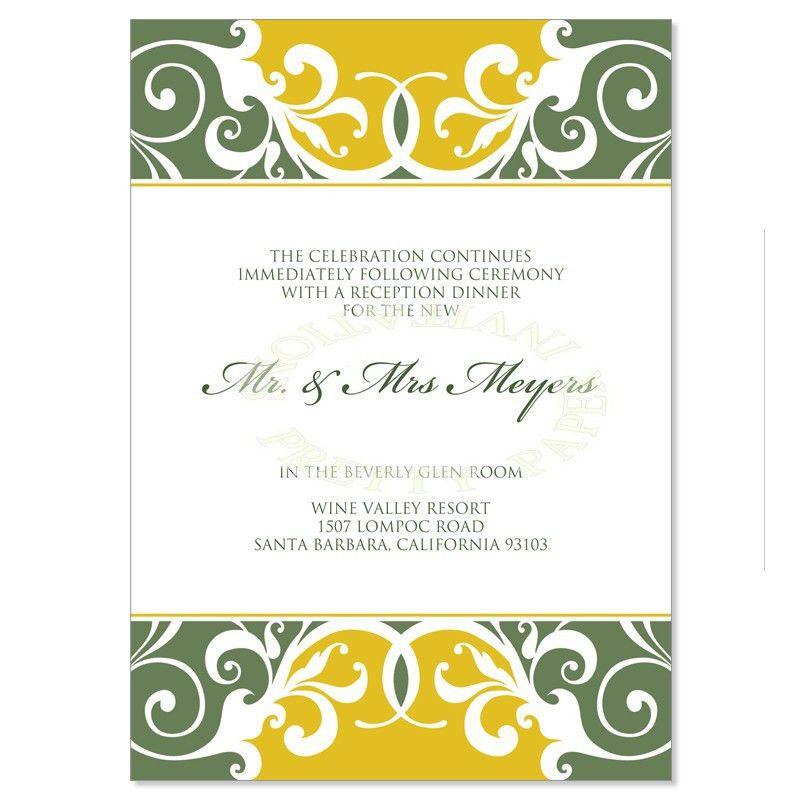Yellow & Green Reception Card Templates - Jordana Willow Do It ...