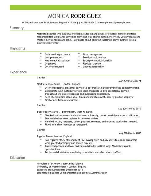 Resume Of Cashier. bank cashier cv sample excellent face to face ...