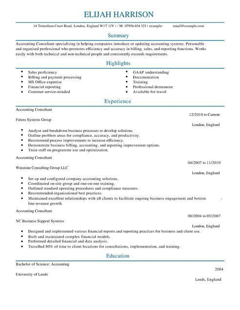Consultant CV Example for Accounting Finance   LiveCareer
