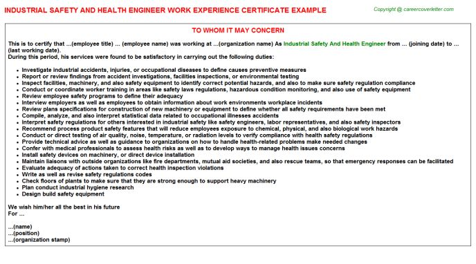Industrial Safety And Health Engineer Work Experience Certificate