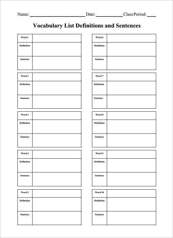 8+ Blank Vocabulary Worksheet Templates – Free Word, PDF Documents ...