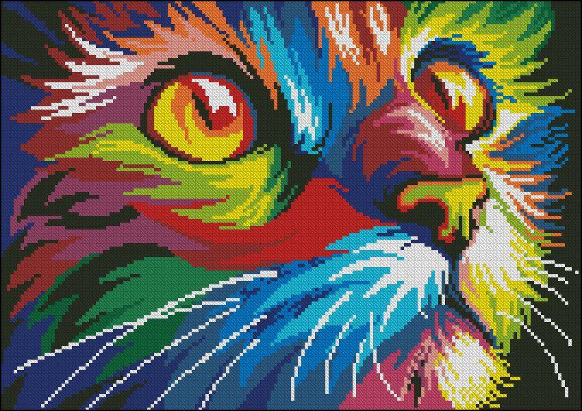 Вышивка радужный кот схема 696