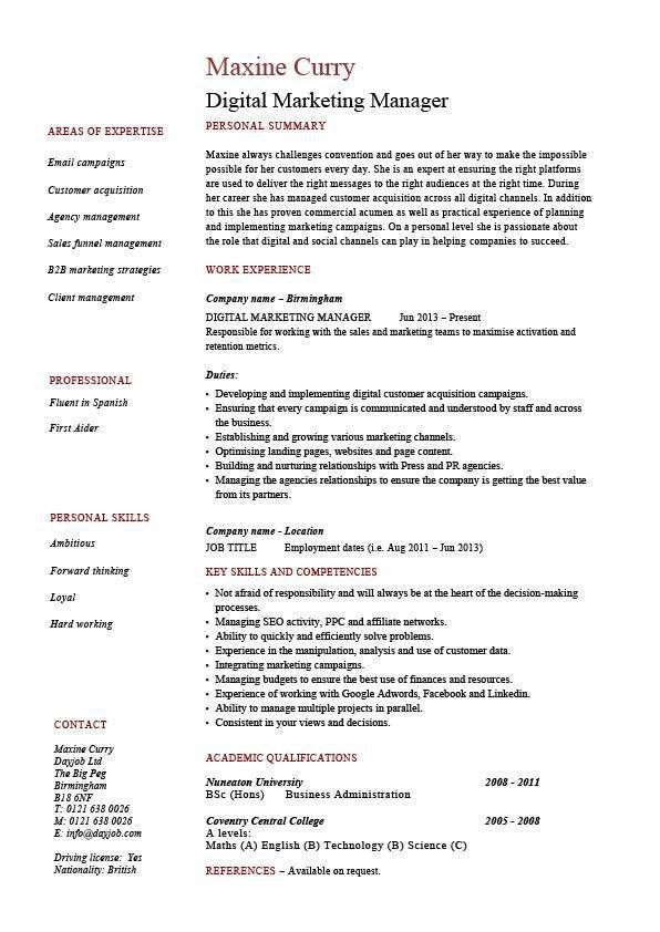 Digital Marketing Manager CV, template, example, latest online ...