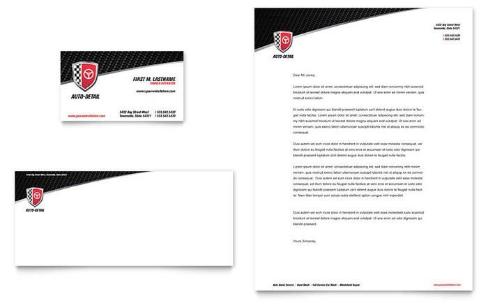 Auto Detailing Business Card & Letterhead Template Design