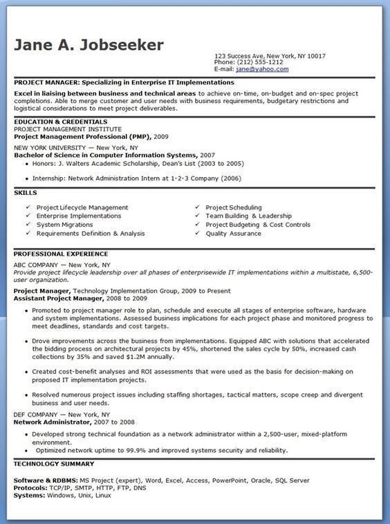 Entry Level It Project Manager Resume Job Hunting Pinterest   Architectural Project  Manager Resume
