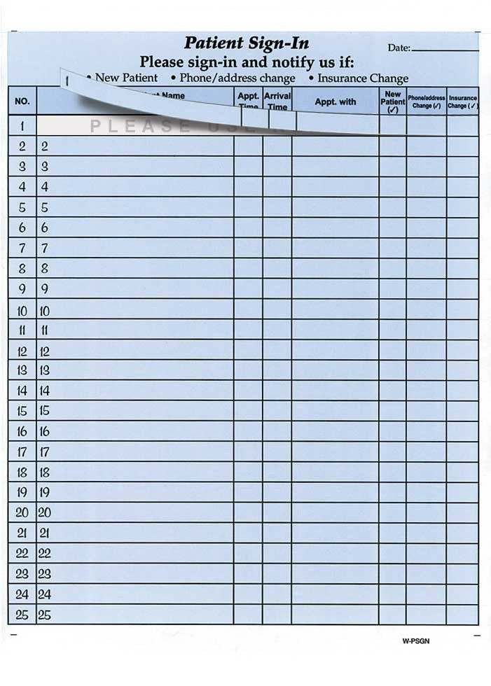 Doctor Sign In Sheet. Patient Sign-In Sheet Template - Excel Free ...