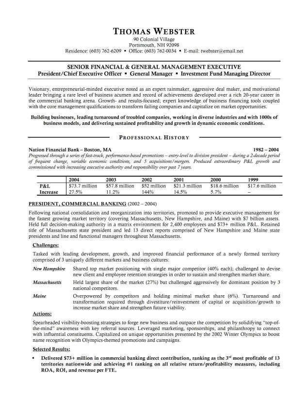 Download Banking Executive Sample Resume | haadyaooverbayresort.com