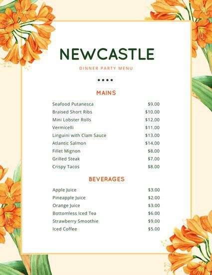 Orange Lily Flowers Dinner Party Menu - Templates by Canva