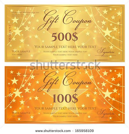 Gift Certificate Voucher Coupon Template Stars Stock Vector ...