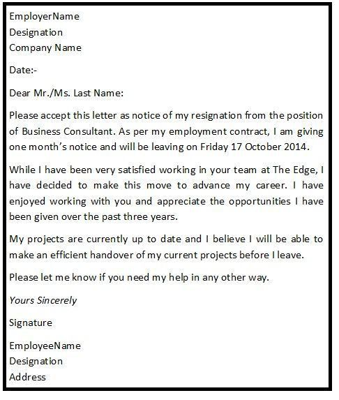 The 25+ Best Standard Resignation Letter Ideas On Pinterest .