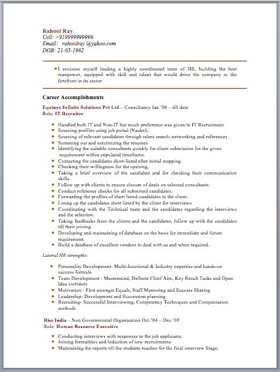 HR Manager Resume Sample – Free Template Downloads