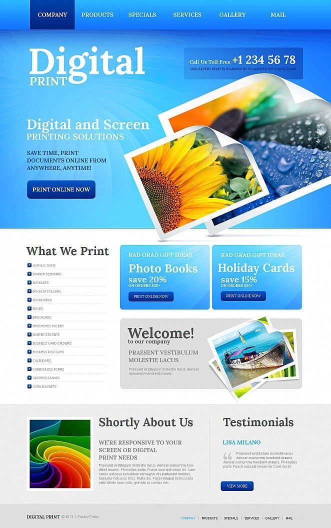 Website Template #43028 Printing Services Copy Custom Website ...