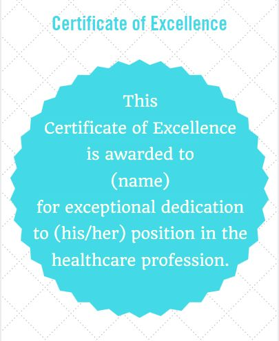 Certificate Wording for Healthcare Industries