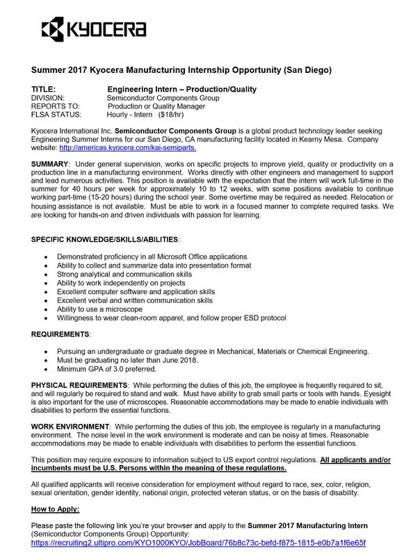 Society of Women Engineers SDSU - Internships/Jobs