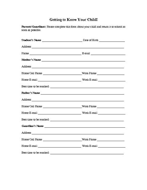 Education World: Family Information Form Template  Information Form Template Word