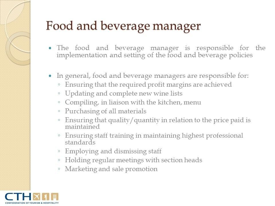 19 Interesting Food And Beverage Supervisor Job Description Resume ...