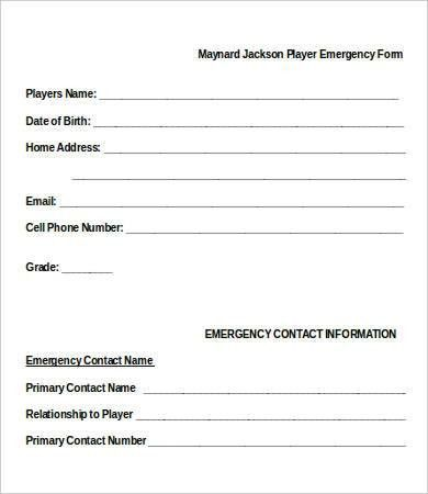 emergency contact form - Template