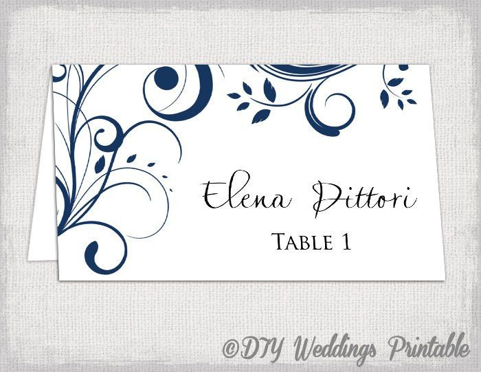 Place card template Navy Blue Scroll name cards