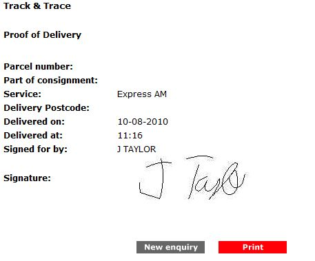 Is it illegal for Parcelforce to sign for my parcel in my name?