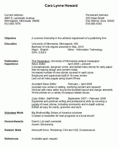 College Resume Format 7 College Student Resume Format For High ...