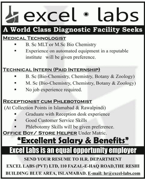 Receptionist Job, Excel Labs Job, Medical Technologist, Technical ...